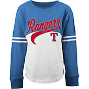 5th & Ocean Youth Girls' Texas Rangers White/Royal Three-Quarter Sleeve Shirt