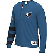 adidas Men's Minnesota Timberwolves On-Court Blue Long Sleeve Shooting Shirt