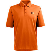 Antigua Men's Cincinnati Bengals Pique Xtra-Lite Orange Polo