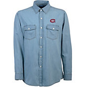 Antigua Men's Montreal Canadiens Chambray Button-Up Shirt