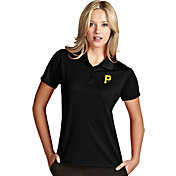 Antigua Women's Pittsburgh Pirates Exceed Black Performance Polo