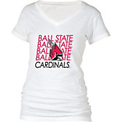 boxercraft Women's Ball State Cardinals Perfect Fit V-Neck White T-Shirt