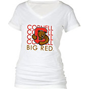 boxercraft Women's Cornell Big Red Perfect Fit V-Neck White T-Shirt