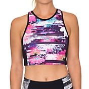 Betsey Johnson Performance Women's Racerfront Printed Colorblock Sports Bra