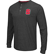 Colosseum Athletics Men's NC State Wolfpack Charcoal Long Sleeve Henley T-Shirt
