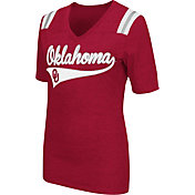 Colosseum Athletics Women's Oklahoma Sooners Crimson Artistic V-Neck T-Shirt