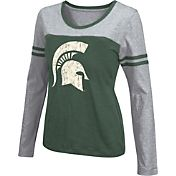 Colosseum Athletics Women's Michigan State Spartans Green Leap Scoop Neck Long Sleeve Shirt