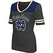 Colosseum Athletics Women's Notre Dame Fighting Irish Grey Twist V-Neck T-Shirt