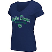 Colosseum Athletics Women's Notre Dame Fighting Irish Navy Script Graphic V-Neck T-Shirt