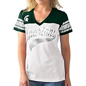 G-III For Her Women's Michigan State Spartans White/Green Pass Rush T-Shirt