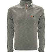 Levelwear Men's Miami Hurricanes Grey Mobility Long Sleeve Quarter-Zip Shirt