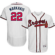 Majestic Men's Authentic Atlanta Braves Nick Markakis #22 Home White Flex Base On-Field Jersey