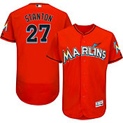 Majestic Men's Authentic Miami Marlins Giancarlo Stanton #27 Alternate Orange Flex Base On-Field Jersey