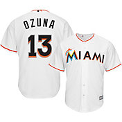 Majestic Men's Replica Miami Marlins Marcell Ozuna #13 Cool Base Home White Jersey