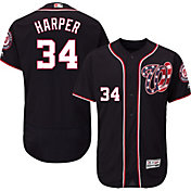 Majestic Men's Authentic Washington Nationals Bryce Harper #34 Alternate Navy Flex Base On-Field Jersey