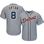 Majestic Men's Replica Detroit Tigers Justin Upton #8 Cool Base Road Grey Jersey
