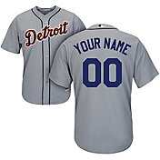 Majestic Men's Custom Cool Base Replica Detroit Tigers Road Grey Jersey