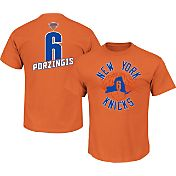 Majestic Men's New York Knicks Kristaps Porzingis #6 Orange T-Shirt