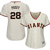 Majestic Women's Replica San Francisco Giants Buster Posey #28 Cool Base Home Ivory Jersey