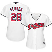 Majestic Women's Replica Cleveland Indians Corey Kluber #28 Cool Base Home White Jersey