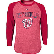 Majestic Youth Washington Nationals Red Raglan Long Sleeve Shirt