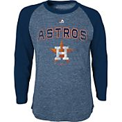 Majestic Youth Houston Astros Navy Raglan Long Sleeve Shirt