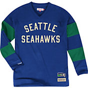 Mitchell & Ness Men's Seattle Seahawks Field Goal Blue Long Sleeve Shirt