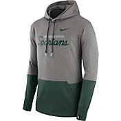 Nike Men's Michigan State Spartans Grey/Green Therma Hoodie