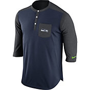 Nike Men's Seattle Seahawks Dri-FIT Touch Henley Navy Three-Quarter Sleeve Shirt