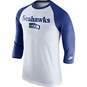 Nike Men's Seattle Seahawks Tri-Blend Historic Raglan White/Royal T-Shirt