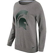 Nike Women's Michigan State Spartans Grey Champ Drive Boyfriend Crew Sweatshirt