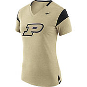 Nike Women's Purdue Boilermakers Fan Old Gold/Black V-Neck T-Shirt