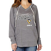 Soft As A Grape Women's Pittsburgh Penguins Grey V-Neck Hoodie