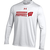 Under Armour Men's Wisconsin Badgers White On Field Performance Long Sleeve T-Shirt