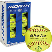 Worth 12' ASA Hot Dot Slow Pitch Softballs - 6 Pack