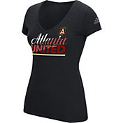 adidas Women's Atlanta United Slant Line V-Neck Black T-Shirt