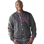 Starter Men's Chicago Cubs 3x World Series Champions Grey Button Down Jacket