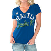 G-III For Her Women's Seattle Sounders Homefield Blue Slub T-Shirt