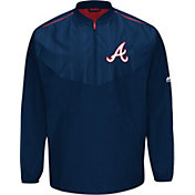 Majestic Men's Atlanta Braves Cool Base Navy On-Field Half-Zip Jacket