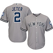 Majestic Men's Replica New York Yankees Derek Jeter #2 Cool Base Road Grey Jersey w/ Jersey Retirement Patch