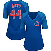Majestic Women's Chicago Cubs Anthony Rizzo #44 Royal Raglan V-Neck Half-Length Sleeve Shirt