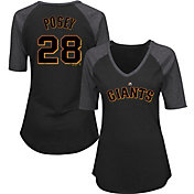 Majestic Women's San Francisco Giants Buster Posey #28 Black Raglan V-Neck Half-Length Sleeve Shirt