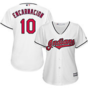 Majestic Women's Replica Cleveland Indians Edwin Encarnacion #10 Cool Base Home White Jersey