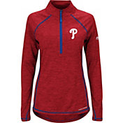 Majestic Women's Philadelphia Phillies Cool Base Red Half-Zip Pullover