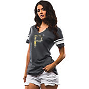 Majestic Women's Pittsburgh Pirates Grey Notch Neck T-Shirt