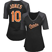Majestic Women's Baltimore Orioles Adam Jones #10 Black Raglan V-Neck Half-Length Sleeve Shirt