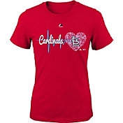 Majestic Youth Girls' St. Louis Cardinals Heart Beat Red T-Shirt