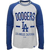 Majestic Youth Los Angeles Dodgers Raglan White/Royal Long Sleeve Shirt