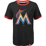 Majestic Youth Miami Marlins Ringer Black T-Shirt