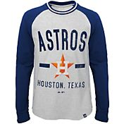 Majestic Youth Houston Astros Raglan White/Navy Long Sleeve Shirt